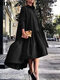 Solid Color Lapel Collar Button Long Sleeve High-low Dress - Black
