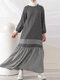 Striped Print Patchwork Long Sleeve Plus Size Dress for Women - Grey