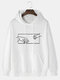 Mens Line Hands Graphic Print Plain Cotton Casual Hoodie With Kangaroo Pocket - White