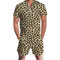 Men Hawaii Beach Print Jumpsuits Casual Short Sleeve Zipper Breathable Cotton Loungewear