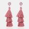 Bohemian Temperament 3 Layer Tassel Earrings Irregular Crystal Geometric Tree Tassel Stud Earrings - Pink
