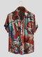 Mens Ethnic Style Graffiti Abstract Short Sleeve Loose Casual Shirt - Red