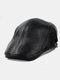 Men Genuine Leather Solid Color Casual Flat Cap Universal Outdoor Forward Hat Beret Hat - Black