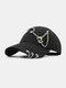 Unisex Cotton Chain Ring Decor Fashion Cool Sunshade Baseball Hat - Black