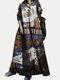 Vintage Blumendruck Big Swing Langarm Pure Cotton Kleid - braun