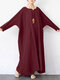Solid Color Half Open Collar Long Sleeve Plus Size Loose Dress with Pocket - Wine Red