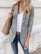 Einfarbiger Langarm-Reverskragen-Taschenblazer für Damen - Grau