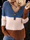 Casual Knit Patchwork V-neck Button Plus Size Sweater - Blue