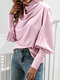Pile Collar Bubble Sleeve Solid Color Blouse for Women - Pink
