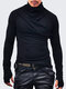 Fashion High Collar Patchwork Solid Color Long Sleeve T-Shirts - Black