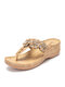 Women Flowers Decor Clip Toe Slippers Comfy Lightweight Wedges Sandals - Apricot