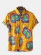 Men Mixed Color Eddy Tie-dye Print Short Sleeve Casual Shirt - Yellow