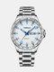 Alloy Steel Band Luminous Business Waterproof Quartz Watch Mens Watch - White+Silver