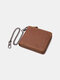 Men Genuine Leather Chains Money Clips Coin Purse Wallet - Brown 1