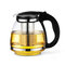 Large Capacity Glass Teapot High Temperature Resistant Flower Tea Coffee Kettle with Infuser  - Black