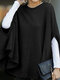 Solid Color Cape Curved Hem Casual Blouse for Women - Black