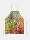木と鳥の絵のパターンのクリーニングColorfulエプロン家庭料理キッチンエプロンクックウェアコットンリネン大人のよだれかけ - #01