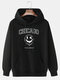 Mens Drip Face Letter Print Halloween Drawstring Hoodies With Pouch Pocket - Black