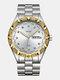 Large Dial Men Business Watch Steel Band Luminous Calendar Waterproof Quartz Watch - #01
