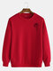 Mens Cotton Rose Printing Plain Casual Crew Neck Pullover Sweatshirts - Red