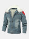 Mens Patchwork Stone Washed Fur Fluffy Collar Thick Outdoor Stylish Denim Jackets - Blue