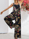 Floral Print Wide-legged Pockets Straps Sleeveless Jumpsuits For Women - Navy Blue