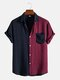 Mens Two Tone Patchwork Preppy Short Sleeve Cotton Linen Shirts - Wine Red