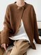 Plain Ribbed Knit Sweater Cardigan For Women - Coffee
