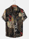 Mens 100% Cotton Ethnic Style Print Short Sleeve Shirt With Pocket - Black