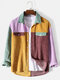 Mens Corduroy Panel Patchwork Button Up Casual Long Sleeve Shirts - Yellow