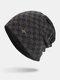 男性冬Plusベルベットコントラストチェック柄パターン屋外ニット暖かいビーニー帽子 - 黒