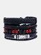 4個の多層レザーメンズブレスレットセット手織りツリーレターレディースビーズブレスレット - #29