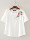 Vintage Floral Embroidery Short Sleeve Dish O-neck T-shirt - White