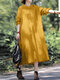 Solid 3/4 Sleeve O-neck Pocket Loose Vintage Dress for Women - Yellow