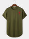 Mens Red Rose Chest Print Curved Hem Sports Short Sleeve T-Shirts - Army Green