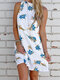Floral Print Sleeveless Backless Casual Dress For Women - White