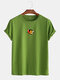 Mens Cotton Letter Graphic Print Round Neck Casual Short Sleeve T-Shirts - Army Green