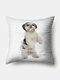 Stripe Pattern Dog Linen Cushion Cover Home Sofa Art Decor Throw Pillowcase - White