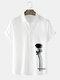 Mens Rose Shadow Side Print Lapel Street Short Sleeve Shirts - White