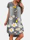 Flower Print V-neck Short Sleeve Casual Denim Dress For Women - Grey
