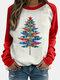 Повседневная толстовка с длинным рукавом и принтом рождественских елок контрастного цвета для Женское - Красный