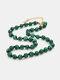 Ethnic Semi-precious Stone Beaded Adjustable Thick Round Bead Necklace - #08
