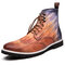 Men British Style Brogue Lace Up Dress Ankle Boots - Brown