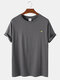 Mens Solid Color Breathable & Light Casual O-Neck T-Shirts - Grey