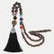 Vintage Buddha Wood Beads Long Necklace Ethnic Geometric Tassel Pendant Sweater Chain - 08
