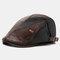 COLLROWN hommes Faux cuir Patchwork couleur décontracté Vintage réglable avant chapeau béret chapeau - café
