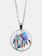 Vintage Glass Printed Women Necklace Oil Color Horse Pattern Pendant Sweater Chain Jewelry - Silver