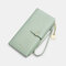 Women PU Leather Multi-card Slots Phone Bag Money Clip Wallet Purse - Green