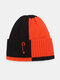 Unisex Knitted Color Contrast Patchwork Paperclip Decoration Fashion Warmth Beanie Hat - Orange+Black