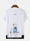 Mens Solid Color Cartoon Cat Print Breathable Loose O-Neck T-Shirts - White